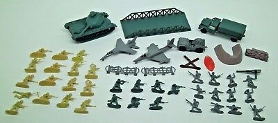 48 pc Vintage Plastic 2 Inch Army Men Soldiers, tank, planes, bridge, truck misc