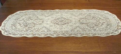 Vintage Ivory Quaker Lace Type Runner Dresser Scarf Cotton 36x15