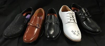 Jodano Collection Boys Dress Shoes WHITE/BLACK/COGNAC (Youth Sizes 11 - 4) (5-8) - Boy Dress Shoes
