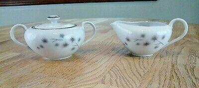 Creative Fine China, Platinum Starburst #1014, Covered Sugar Bowl & Creamer Set Platinum Covered Bowl