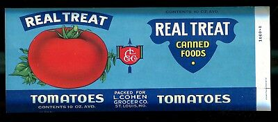 Real Treat Tomatoes   Real Treat Canned Foods   Can Label   Cohen Grocer Co
