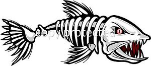 Bad Skeleton Fish Bumper Sticker Decal - Boat Funny Sticker
