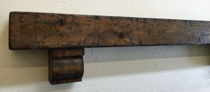 Rustic Fireplace Mantle,Wood Beam Mantle with corbels,Rustic Mantle,48 inches