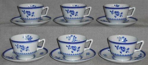 Set (6) Copeland Spode GLOUCESTER BLUE PATTERN Cup/Saucer MADE IN ENGLAND