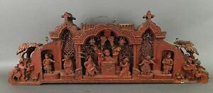 Antique-19C-Chinese-Carved-Wood-Double-Sided-Architectural-Panel-of-Opera-362