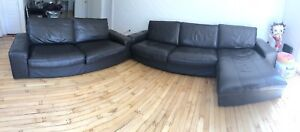 Two expresso brown leather sofa chairs