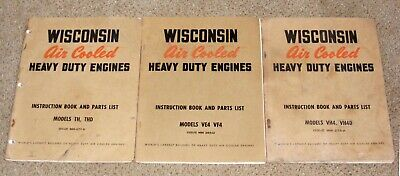 Wisconsin Air Cooled Heavy Engines 3 Instruction Books Parts Lists Th Vr Vf Vh