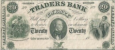 Traders Bank Vintage Reprint 20 Dollar Note Obsolete Richmond Virginia  (B)