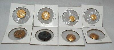 Lot of 8 Vintage U S Military & Fleur De Lys Queen King Crown Metal buttons