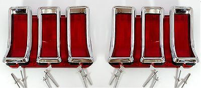Pair 1967 1968 Ford Mustang Tail Lights Brake Lamp Lens 67 68 Chrome Bezels Set  (Ford Lens)
