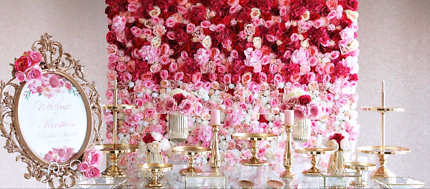 Cake stands and flower walls