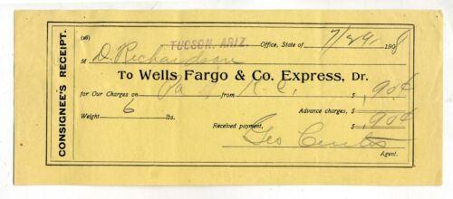 ARIZONA TERRITORY -WELLS FARGO & CO. EXPRESS RECEIPT TUCSON 1908