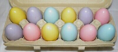 One Dozen PASTEL COLOR WOOD EASTER EGGS Pink Yellow Blue Purple (Easter Egg Colors)