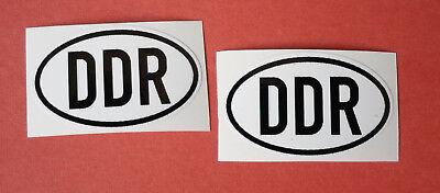 2 x DDR Aufkleber oval ca. 5 x 3 cm