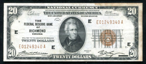 FR. 1870-E 1929 $20 FRBN FEDERAL RESERVE BANK NOTE RICHMOND, VA XF (D)