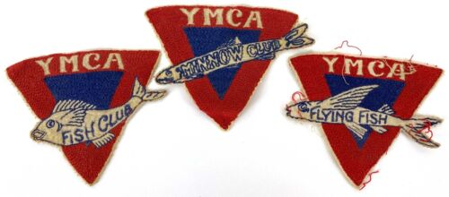 3 vintage YMCA Patches Flying Fish Minnow Club