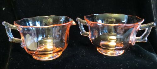 Pink Cambridge Decagon Cream Pitcher & Sugar Bowl Set