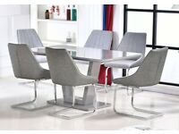 Tunis Grey Glass Dining Set with 6 Chairs BRAND NEW