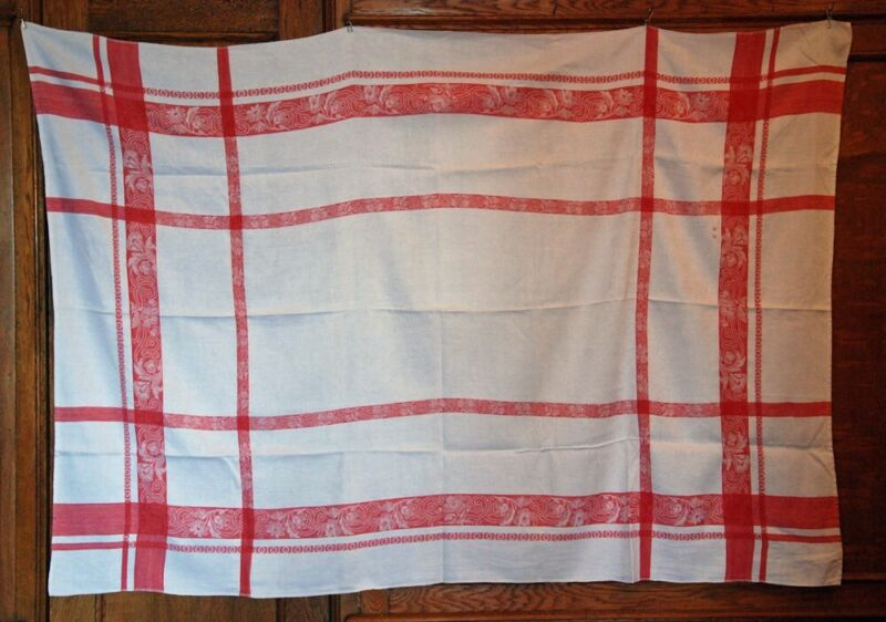 """CLASSIC FRENCH RED & WHITE TRADITIONAL VINTAGE TABLECLOTH ~ LARGE 87"""" ANTIQUE"""