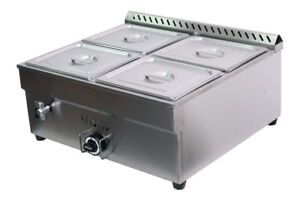 27.4in 4-Pan LP Gas Bain-Marie Buffet Food Warmer Steam Table 1*Warmer+4*1/2Pans