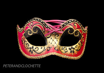 Mask from Venice Colombine Burlesque Pink and Golden for Prom Mask 963 V4B