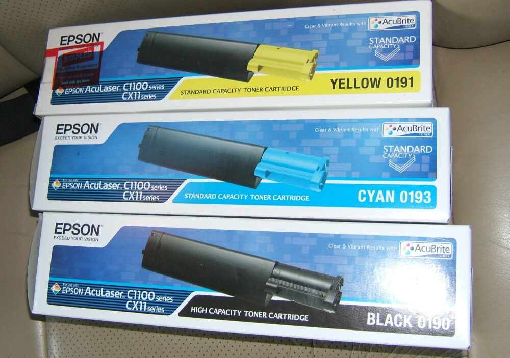 Epson Original Colour Laser Toner Cartridges 3X for AccuLaser C1100 and CC11 series NEW