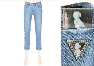 Guess Korea X Marilyn Monroe Edition Women Light Blue Ankle Slim Straight Jeans