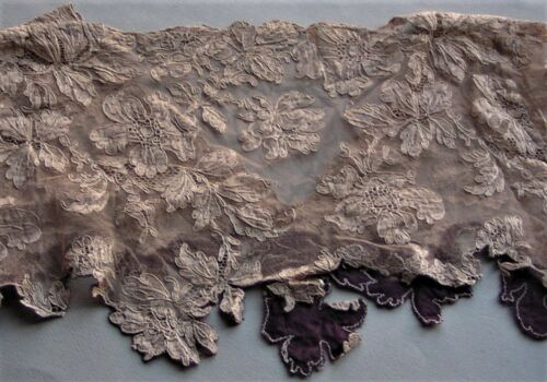 Vintage Alencon Lace Bodice Collar Ornate Raised Embroidery Floral