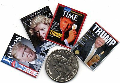 4 Miniature  -  DONALD TRUMP   MAGAZINES - Dollhouse 1:12 scale OPENING PAGES