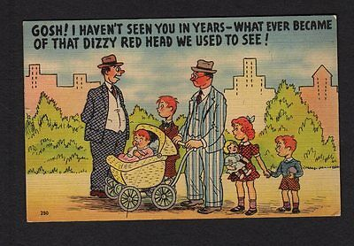 Comic Postcard man w/ red headed kids, friends asks about