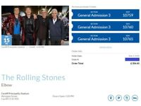 3 Tickets General Admission ROLLING STONES - Cardiff 15 June 2018