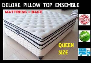 FREE DELIVERY Queen Bed Ensemble NEW Pillow Top Mattress + Base New Farm Brisbane North East Preview