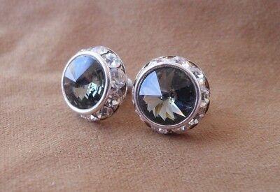 HYPOALLERGENIC Stud Earrings  Swarovski Elements  Silver Black with