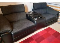Furniture village lazy boy sofa, electric recliner, drinks holder/chiller and iPod dock and speakers