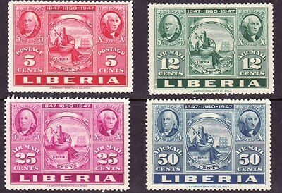 Liberia # 300 & C54-56 MNH Complete Stamp on Stamp