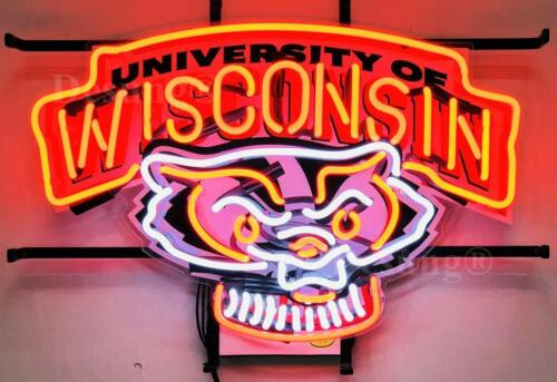 "New Wisconsin Badgers Neon Sign 19""x15"" with HD Vivid Printing Technology"