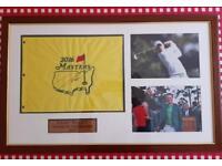 DANNY WILLETT FRAMED MASTERS FLAG SIGNED BY 2016 WINNER.