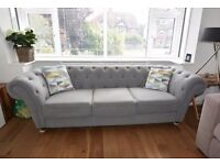 Stunning Fabric Grey 3 Seater Chesterfield Sofa.