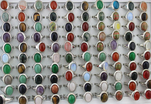 Wholesale Mixed Lots 32pcs Classic Jewelry Natural Stone Women Silver P Rings