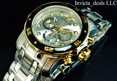 Invicta Mens 48mm Pro Diver SCUBA Chronograph Silver Dial Gold/Silver Tone Watch