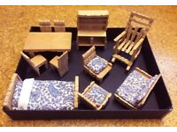 Vintage Dolls furniture handmade from pegs. Beautifully made.