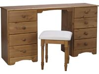 EX DISPLAY Nordic 8 Drawer Dressing Table and Stool - Pine