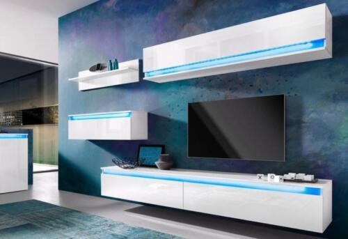 Wohnwand Weiß Hochglanz Wohnzimmer Wand 4 Tlg Design Top2019 In