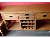 Rustic Canterbury Oak Sideboard with Wine Rack