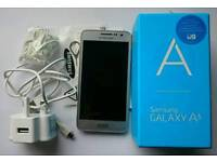 Samsung A3 in platinum silver boxed with accessories (unlocked)