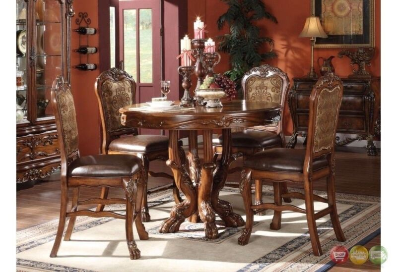 "Dresden 5pc Antique Style 48"" Counter Height Table Set In Cherry Oak Finish"