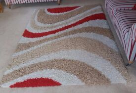 """Large Shaggy Rug, 7'6"""" x 5' 3"""", 'Swirl' Design in Cream, Beige and Red"""
