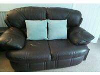 Leather 2 seater settees