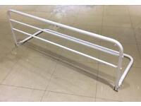 Childs bed safety / guard rail which folds flat (sturdy white metal)