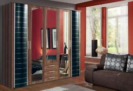 **7-DAY MONEY BACK GUARANTEE!** Luxury Yvonne 5 Door German Wardrobe in Walnut or White - BRAND NEW!